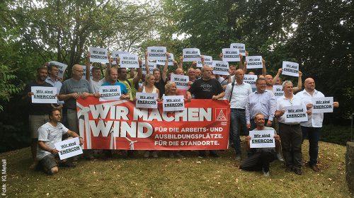 Beschäftigte wehren sich gegen Stellenabbau bei Enercon